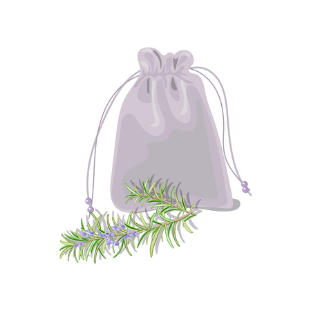 potpourri: Textile sachet with herbs. isolated realistic. sac witk knot Illustration