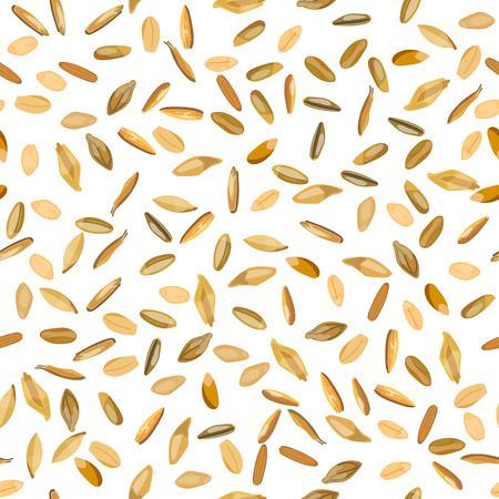 Seamless pattern wheat and rye grains. Vector illustration. Isolated.