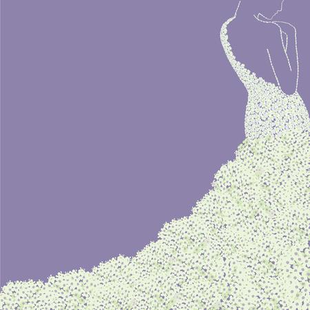 Bride s silhouette in floral dress . Bridal shower wedding invitation card. Illustration