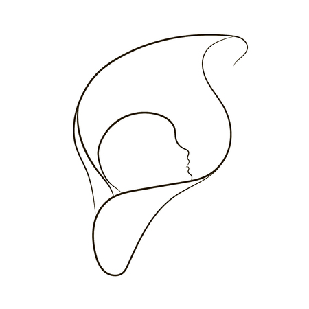 natural childbirth: Natural childbirth, vector symbol in simple lines