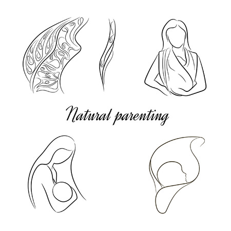 nursing mother: natural parenting,a set of stylized vector sketches