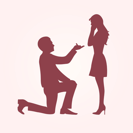 proposed: Offer of marriage. Silhouettes of man and woman. Vector illustration.