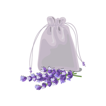 Textile sachet with lavender. cloth bag. Vector illustration