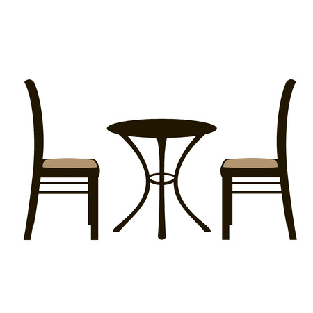 shablonTable and a pair of chairs. Vector illustration. for cafe, furniture shop