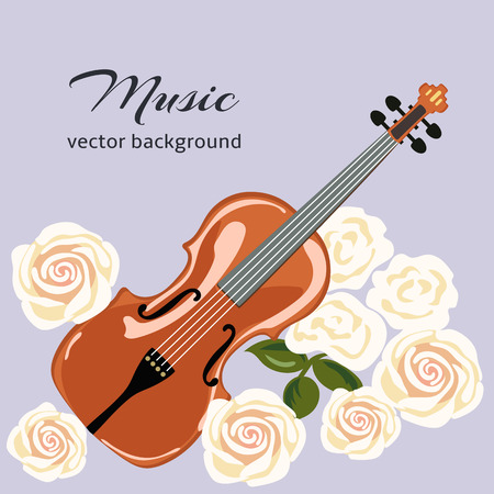 cellos: Classical violin with white roses. Musical background. vector