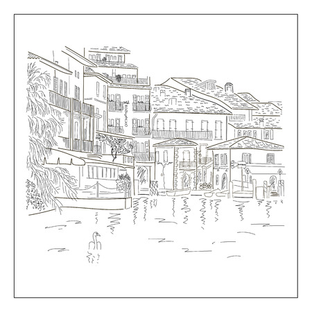 stage door: Old europian town on the lake. Hand drawn sketch. Vector illustration. Illustration