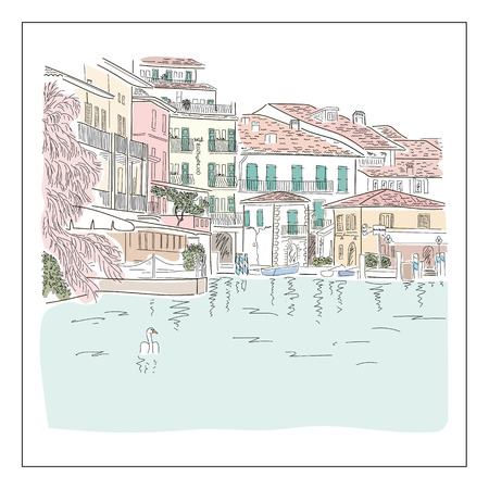 europian: Old europian town on the lake. Hand drawn colored sketch. Vector illustration.