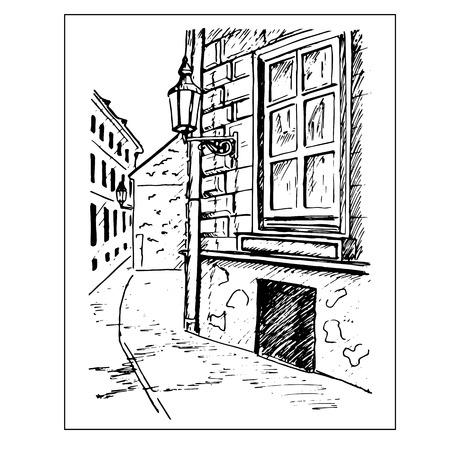 stage door: Old town street. Window and lantern. Hand drawn sketch. vector