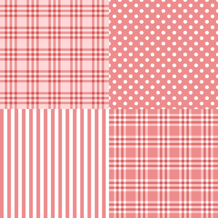 it s a girl: Vector set of 4 pink patterns striped, plaid, spotted . It s a girl. Good for Baby Shower, Birthday, Scrapbook, Greeting Cards, Gift Wrap, surface textures.