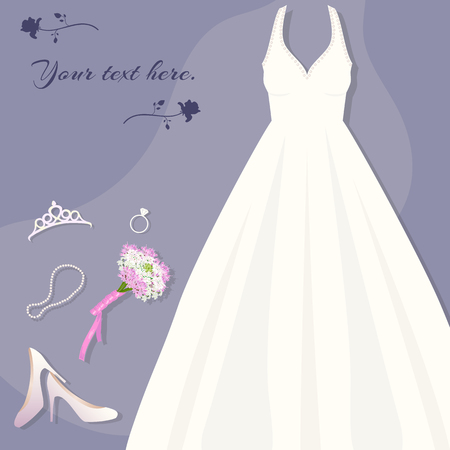 Brides set. Wedding dress, tiara, ring, shoes bouquet necklace Vector illustration