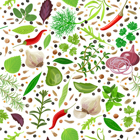 tarragon: Cooking herbs and spices seamless pattern vector set. Illustration