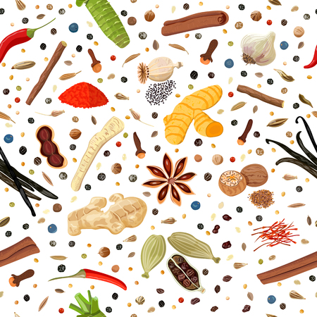 Cooking spices seamless pattern vector set. Vettoriali