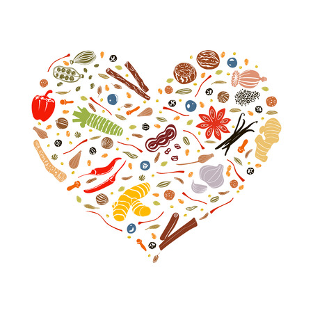 Floral heart made of spices. spices in heart shape. Ready design for health care products, medicine emblem, eco food, farm store, menu, web, spa salon, greeting card, booklet, price tag, print Illustration