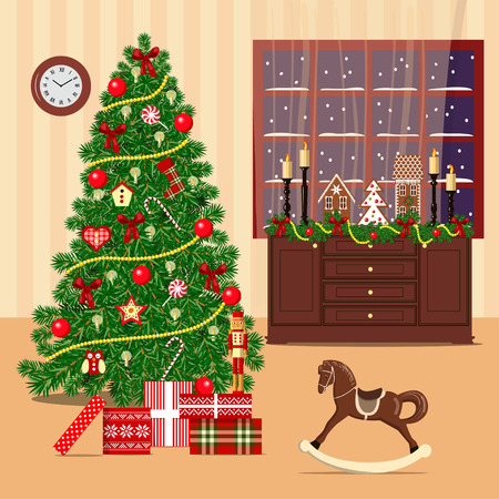 crunchy: Christmas decorated room with xmas tree, window, chest of drawers. Flat style vector illustration. comfortable room with xmas tree, gift boxes, rocking-horse, wreath, candles, presents, curtains