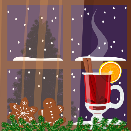 vista: Christmas decorated room with window with hot mulled wine. Flat style vector illustration. Comfortable vista with hot wine punch, gingerbread man, green garland, curtains. For postcards, greetings