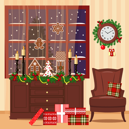 toy chest: Xmas decorated room with window, chest of drawers, armchair, toys, gifts. Flat style vector illustration. cozy room with illumination, gift boxes, pillow, wreath, candles, presents, curtains