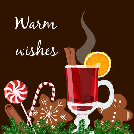zest: Warm wishes postcard. Mulled wine, gingerbread man, candy cane, lolly pop, fir tree twig, zest, nutmeg, star anise, sugar, cinnamon, citrus, cardamom, ginger. Black background.
