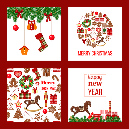 Christmas set. Xmas theme in boarded squares with garland, gift boxes, rocking-horse, bauble shape, gingerbread house. Red background. For wallpaper, wrapping, decoration banner, screens, textile Illustration