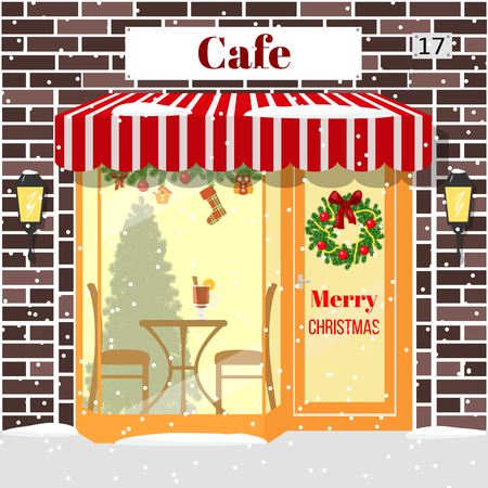 Christmas decorated cafe or coffee shop. Illuminated facade of red bricks with window, table, chair, mulled wine drink, wreath, garland, xmas tree, snowflakes. Vector. For postcards, prints, banner