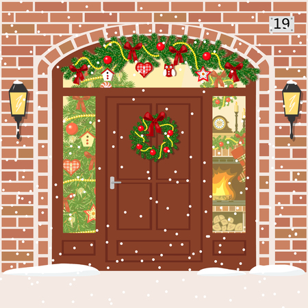 snug: Christmas decorated and Illuminated door, house entrance with Sidelight Window, garland, wreath. Facade of red bricks with xmas tree, snowflakes, fireplace. Vector. For postcards, prints, banner