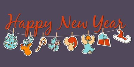 Happy New Year banner. Broad poster or decoration. Cute dangling Xmas figures with santa red hat, deer, christmas tree, angel, candy, sledge, gift, cone-and-berry. For greetings, invitation, postcard