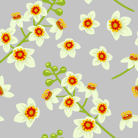 abloom: Frankincense blossoming flower seamless pattern vector. Beautiful boswellia tree flowers on grey background. For greetings and postcards, banners, textile, prints, decoration, wallpaper, packing. Illustration
