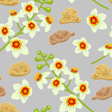 abloom: Frankincense blossoming flower seamless pattern vector. Beautiful boswellia tree flowers with incense bits, on grey background. For greetings and postcards, textile, prints, decoration, wallpaper.