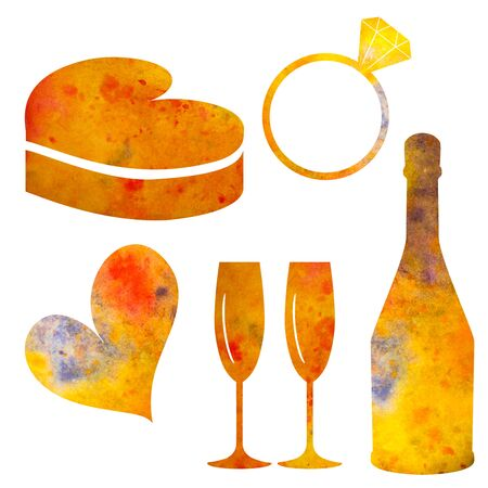 Set of watercolor elements for Valentines day or for wedding. heart, bottle, glasses, wedding ring, gift box. coloured with blurs.