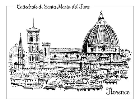 フィレンツェ。ドゥオーモ サンタ・マリア ・ デル ・ フィオーレ大聖堂ベクトル手描きスケッチ図。市内のパノラマ。