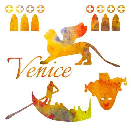 Venice. Set of watercolor objects. Gondola, lion, mask For postcards decoration Stock Photo