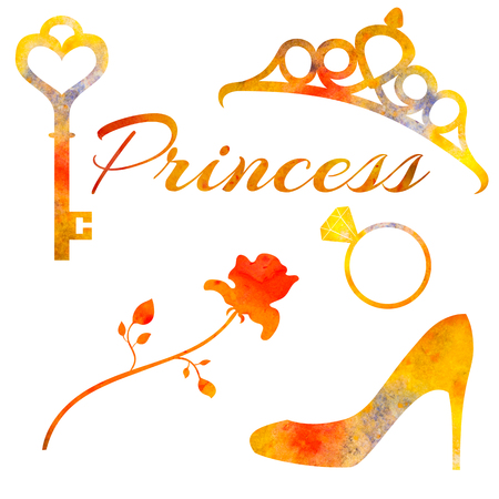key ring: Set of watercolor elements princess. Rose, diadem, key, ring and shoe. For postcards, decoration. Stock Photo