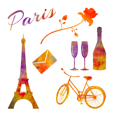 Paris. Set of watercolor objects. Tower, bicycle, rose, bottle etc. For postcards, decoration. Stock Photo