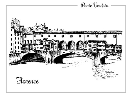 Florence. Ink hand drawing sketch of the Ponte Vecchio bridge, Vector illustration. City panorama. Can be used at advertising, traveling, postcards, prints, textile, design. For banners, stickers