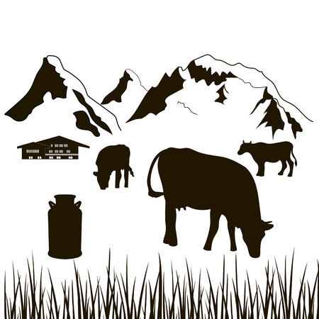 cows,milk can, grass and house on a mountains background. Dairy production silhouette. Cattle farm. Alpine background. For   price tag, banner, advertising, prints, design elements, sticker, label