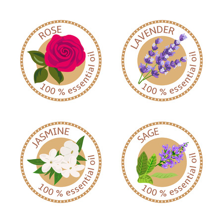 Set of 100% essential oils labels. Rose, Sage, Lavender, jasmine symbols.  Vector illustration. Brown stamps, flat style. For stickers, price tags, labels, advertising, banners
