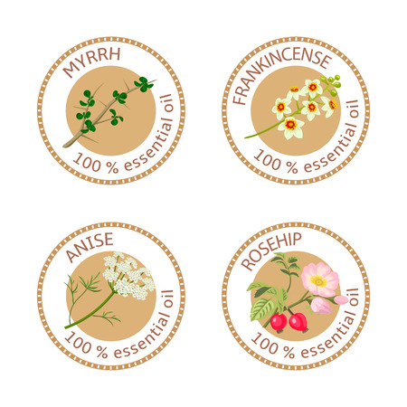 frankincense: Set of 100% essential oils labels. Myrrh, frankincense, anise, rosehip symbols.  Vector illustration. Brown stamps, flat style. For stickers, price tags, labels, advertising, banners