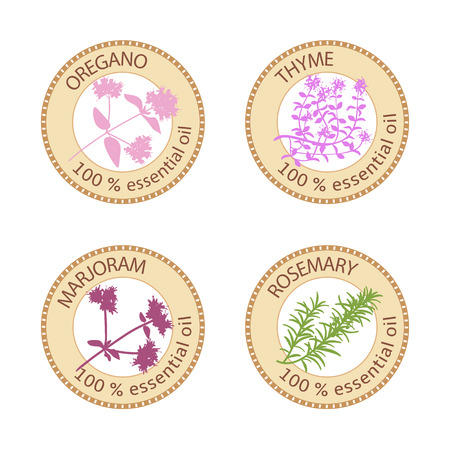 oregano: Set of flat essential oil labels. 100%. Oregano, Thyme, marjoram, rosemary.  Vector illustration. Brown stamps, bright silhouettes. For stickers, price tags, advertising, banners