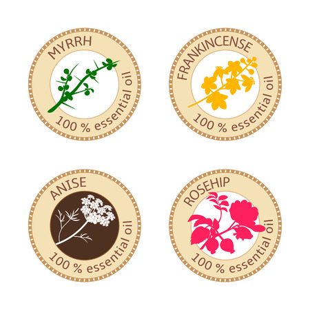 myrrh: Set of flat essential oil labels. Myrrh, anise, rosehip, frankincense.  Vector illustration. Brown stamps, bright silhouettes. For stickers, price tags advertising banners poster