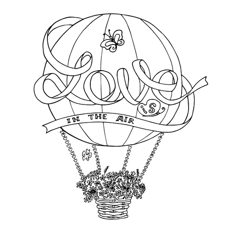 Hot air balloon sketch with ribbon Love is in the air Illustration