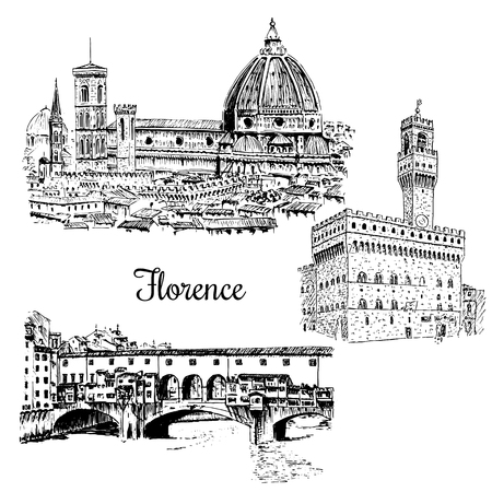 set of Florence Ponte Vecchio bridge in , Italy. Vector hand drawn sketch