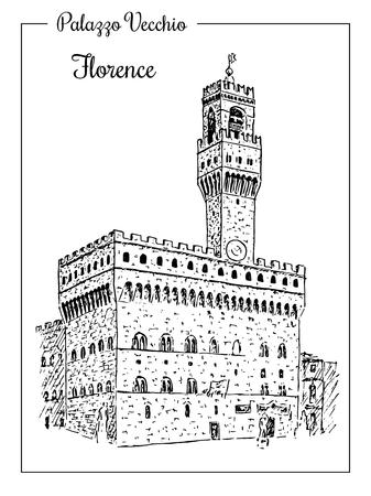 Palazzo Vecchio or Palazzo della Signoria in Florence, Italy. 矢量图像