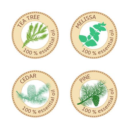 Set of essential oils labels. Pine tree, Cedar, Tea tree, melissa