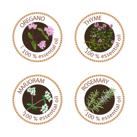 Set of 100 essential oils labels. Oregano, Thyme, marjoram, rosemary symbols. Logo collection. Vector illustration. Brown stamps, realistic. For cosmetics, spa, health care, aromatherapy, cosmetics
