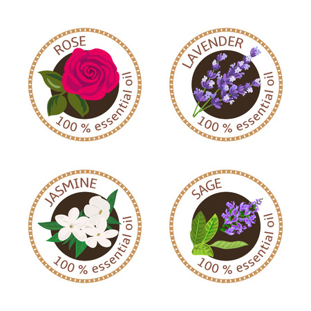 Set of 100 essential oils labels. Rose, Sage, Lavender, jasmine symbols. Logo collection. Vector illustration. Brown stamps, realistic. For cosmetics, spa, health care, aromatherapy, cosmetics, banner Illustration