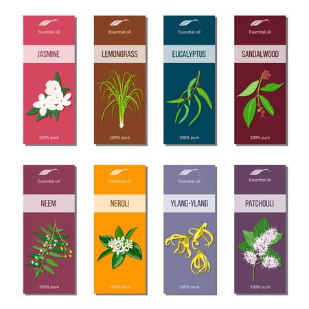 Essential oil tags collection. Sandalwood, patchouli, Ylang-ylang, neem, neroli, lemongrass, Eucalyptus, jasmine Фото со стока