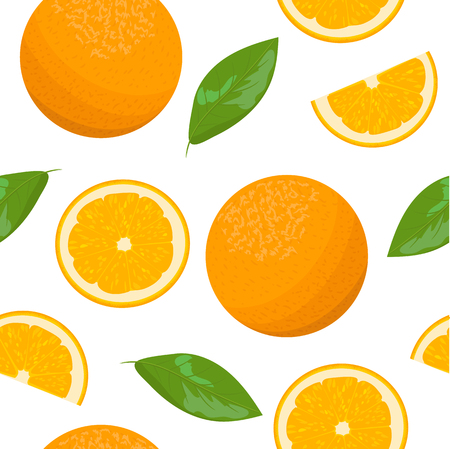 odorous: Orange theme. Seamless pattern vector collection of realistic fruits and slices.