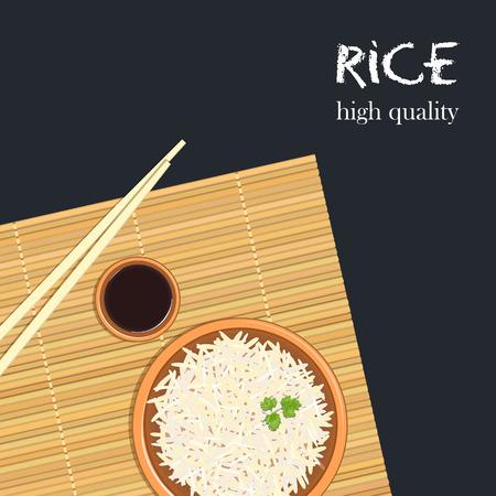 Rice in ceramic bowl with chopsticks. Kitchen bamboo mat, sauce tureen