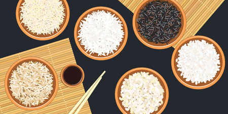 Different types of rice in bowls. Basmati, wild, jasmine, long brown, arborio, sushi. chopsticks. Kitchen bamboo mats, sauce tureen. Vector illustration. top view. For culinary, fastfood, restaurant Illustration