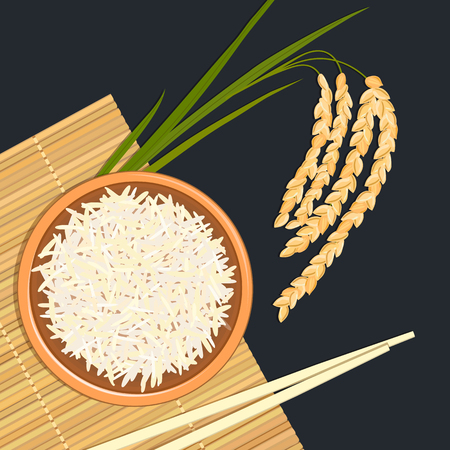 Rice in ceramic bowl with chopsticks. Kitchen bamboo mat, spikelet. Text high quality. Vector illustration. For culinary, cafe, fastfood, shop, restaurant. Can be used as label, poster, advertising