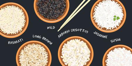 Différents types de riz en pots. Basmati, sauvage, jasmin, long brun, arborio, sushi. baguettes. Cuisine en bambou, soupière. Illustration vectorielle. vue de dessus. Pour culinaire, restauration rapide, restaurant Vecteurs